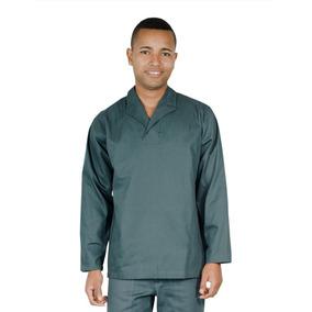Camisa Profissional Em Brim M l Gola Italiana Verde Petroleo 2671f4968cf69
