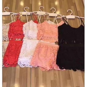 Conjunto Feminino Cropped E Shorts De Rendas Importado
