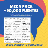 +90,000 Fuentes Para Pc Tipografía Editables Letras