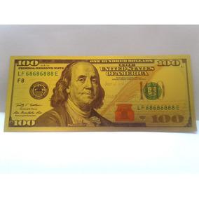 Cédula Estados Unidos 100 Dolares Fantasia Folheada A Ouro