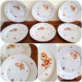 6 Platos Llanos 25,7 Cm Porcelana De Bavaria Decorada En Oro