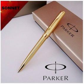 Caneta Esferográfica Parker Sonnet Original Banhada A Ouro