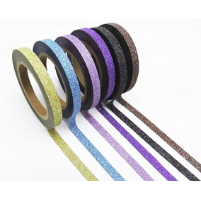 Kit 6 Washi Tape Decorativo Scrabooking Glitter 6,5 Mt Cada