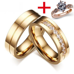 b014c2a45ef Alianças Banhada Ouro 18k Casamento Namoro + Anel Brilhante