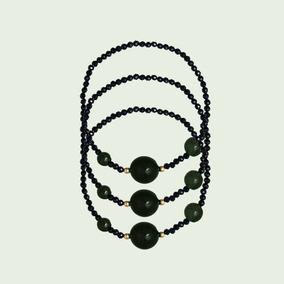 Pulseiras De Espinélios Negros C/ Ágatas Negras C/ Ouro 18k