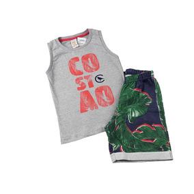 Conjunto Infantil Masculino Bermuda Jungle Camiseta Regata