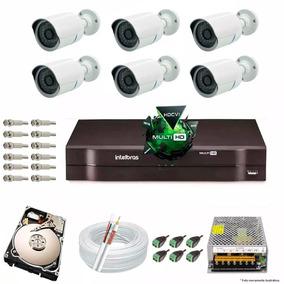 Kit Cftv 6 Cameras Infra Ahd 1080p Dvr 8 Canais Intelbras+hd