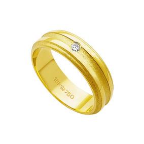 5c28ec985f73a C731 - Aliança De Ouro 18k 750 Com 1 Brilhante De 3.50 Pont