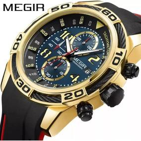 Relógio Megir 2045 Masculino Dourado Fundo Azul Sport Luxo