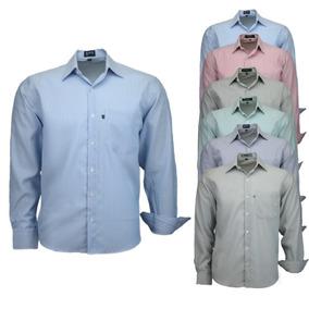 Kit 2 Camisas Amil Dots Não Amassa Longa Com Bolso Listrado