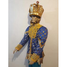 Fantasia Rei Momo Carnaval Cor Azul Com Dourado Mais Coroa
