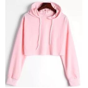 e4724cea11 Cropped Moletom Blusa Feminina Rosa Capuz Moda Fashion