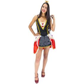 Roupa De Carnaval Feminina Rainha De Copas Alice Luxo P A Gg