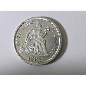 Moeda Usa Seated Liberty Dime Silver 1886, Soberba, Rara.