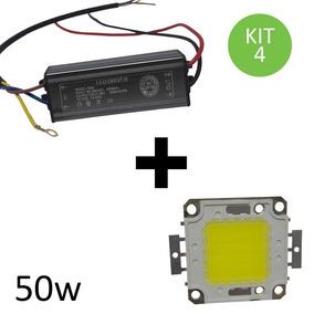 Chip + Reator Driver Refletor Led 50w 100w 150w 200w Kit 4