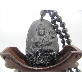 Colar Pingente Todo Pedra Obisidiana Preta Buda E Rosa