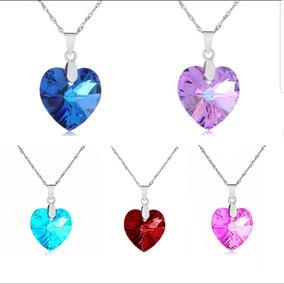Collar Corazon Cristal Australia Colores + Cadena Amor