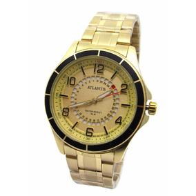 18c59fc98e7 Relógio Feminino Dourado Seculus Analógico 28779lpsvds2 · Relogio Atlantis  Unisex G3429 Fundo Dourado