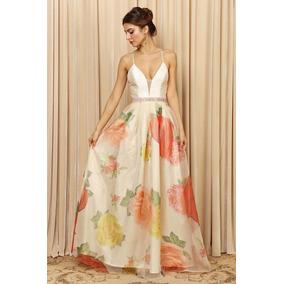 Vestido Largo Falda Organza Floreada Talla M/l