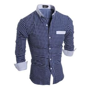 Camisa Formal Casual Azul Quadriculada Elegante Classico
