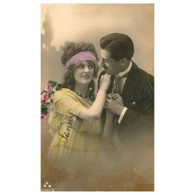 Postal 1922 Art Noveau Colorizado Casal Romãntico