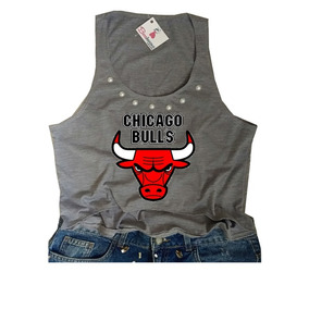 cc73dd4634 Camiseta Feminina Basquete Chicago Bulls Regata Cropped Nova