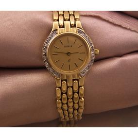 56e3f41cbad Relógio De Pulso Auria Todo Em Ouro Com 16 Diamantes J10827