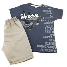 Kit 5 Conjuntos Infantil Meninos Camiseta E Bermuda Compre