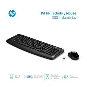 Kit Teclado Y Mouse Inalambrico Hp 300 Conexion Usb Negro