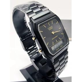 Reloj Casio Negro Aq230-retro Mate Manecillas Doble Tiempo