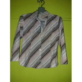 Camisa Dama Rayas Diagonales Manga 3 4 Elastizada 6d8fd1f3ef4