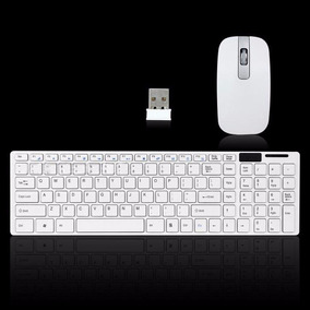 Teclado E Mouse Branco Sem Fio 2,4ghz