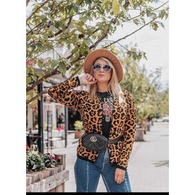 Casaco Feminino Animal Print Moda Onça Tricô Instagram