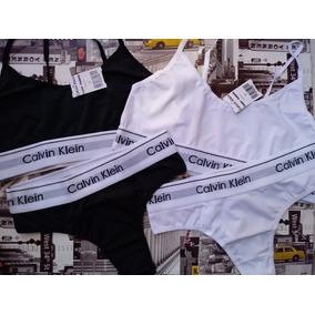 8c0147ed9e511c Kit C/ 2 Conjuntos Calvin Top Sutiã Tira Fina + Calcinhas