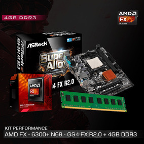 Kit Amd Fx 6300 4.1 Ghz + Placa N68-gs4 Fx R2.0 + 4gb Ddr3