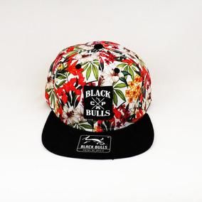 4fceab28da88b Boné Black Bulls Branco Floral Aba Preta Snapback Aba Reta