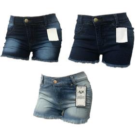 Kit 3 Shorts Jeans Feminino Atacado Cintura Alta Hot Pant