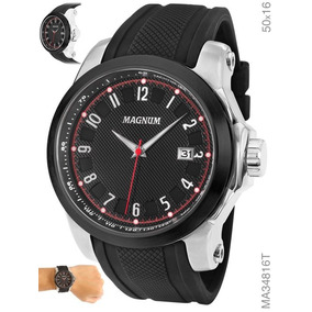 Relógio Magnum Masculino Pulseira Borracha Preto Ma34816t