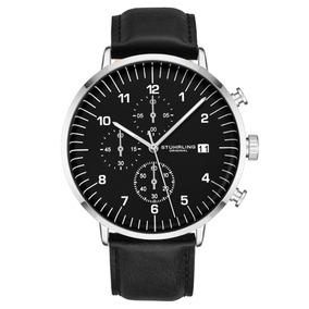 Reloj Stuhrling Quarzo 42mm Negro Cuero Cronografo 3911l.1