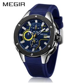 a576f337d6b Relógio Cronógrafo Megir Esportivo Blue Racing 100% Original