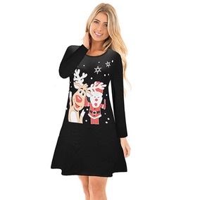 844b858d4 Vestido Navidad Mujeres Otoño Invierno Dibujos Animados Pap