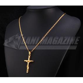 Cordão Colar Masculino Crucifixo C/ Pingente Banhada Ouro 18