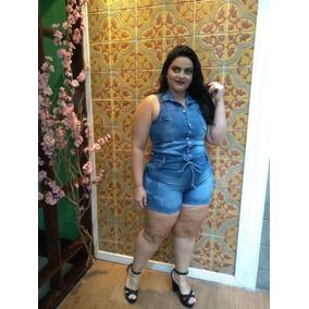 Macaquinho Macacão Jeans Tamanho Plus Size Do 44 Ao 50