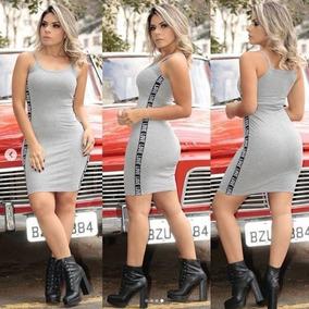 Vestido Feminino Canelado Com Bojo Nice Love Fita + Brinde18
