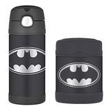 Kit Garrafa Thermos Termica 355ml + Pote Alimento - Batman