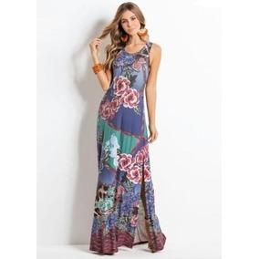 Vestido Longo Malha Moda Evangélica Social Feminina Florido