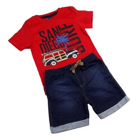 Conjunto Infantil Masculino Bermuda Em Moletom E Camiseta