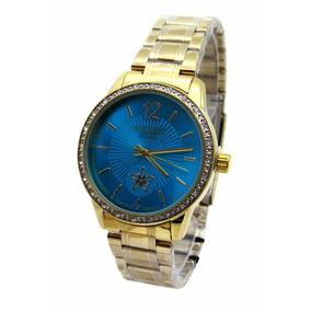 618662bea5a Relógio Atlantis Dourado Fundo Azul - Relógios no Mercado Livre Brasil