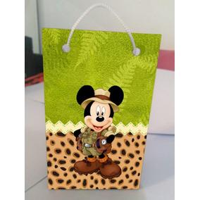 Kit Com 10 Sacolinhas Personalizadas Mickey Safari