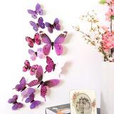 Mariposa Morado Calcamonia 3d Para Decoración Pegatina Pared